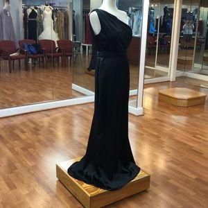 One shoulder black formal dress